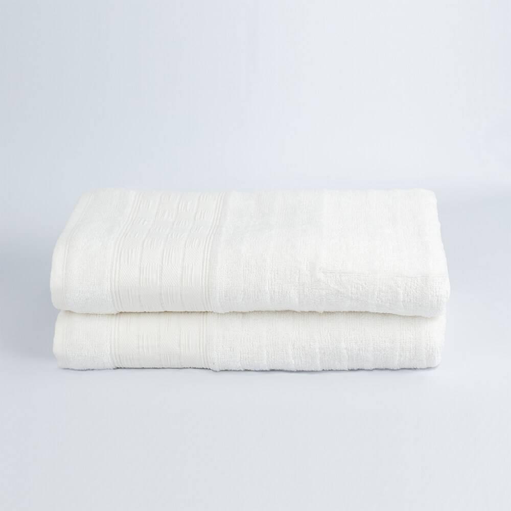 Jogo de Banho Jacquard Fibra de Bamboo Off White - LM