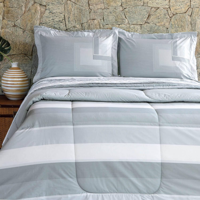 Kit Cobre leito Casal Percal 200 Fios Acetinado Benit + 2 Porta Travesseiros - Vida Bela Kacyumara