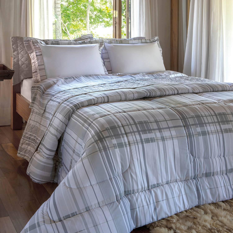 Kit Cobre leito Casal Percal 200 Fios Acetinado Skiter + 2 Porta Travesseiros - Vida Bela Kacyumara