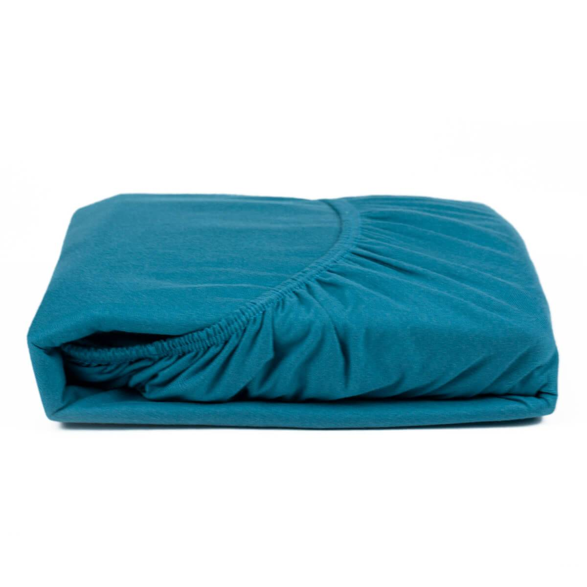 Lençol com Elástico Casal 1,38m x 1,88m x 30 cm Fio 30/1 Penteado Azul - Atlântica