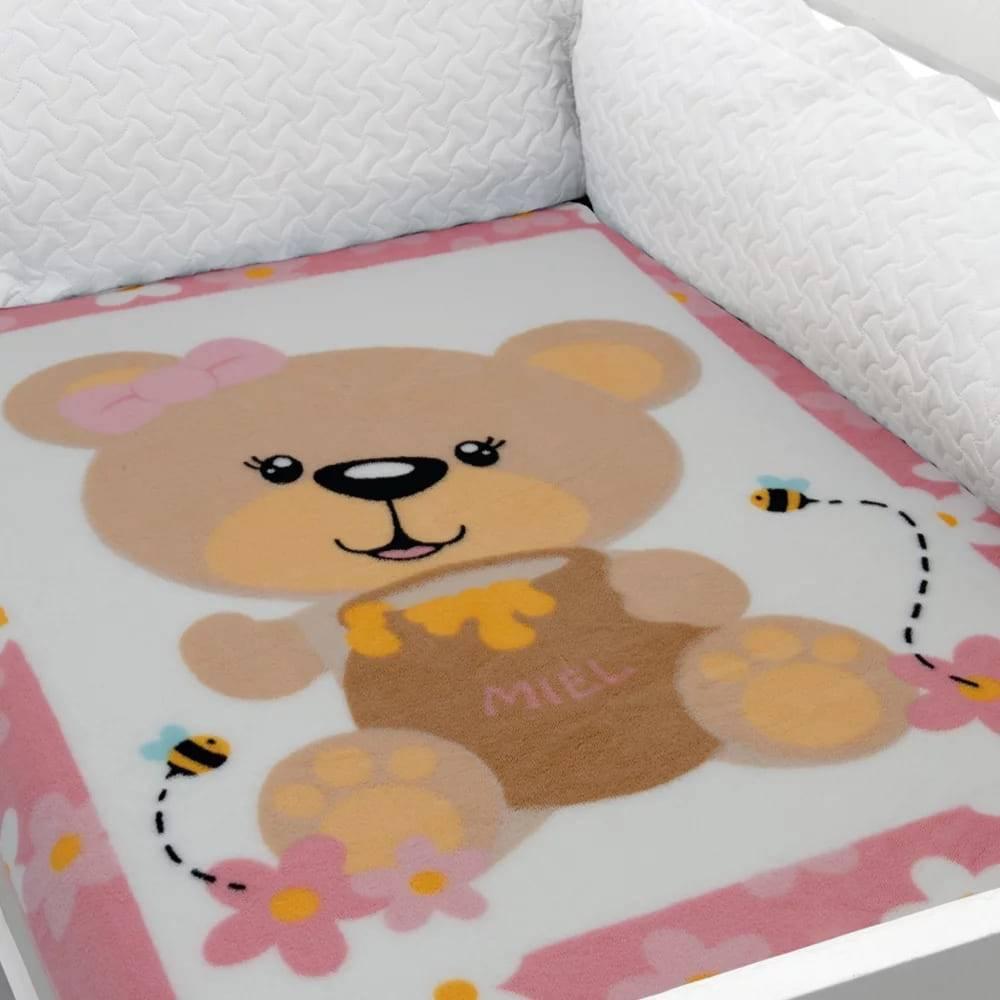 Cobertor Baby Soft para Berço Hipoalergênico  90cm x 110cm Ursinha Flores