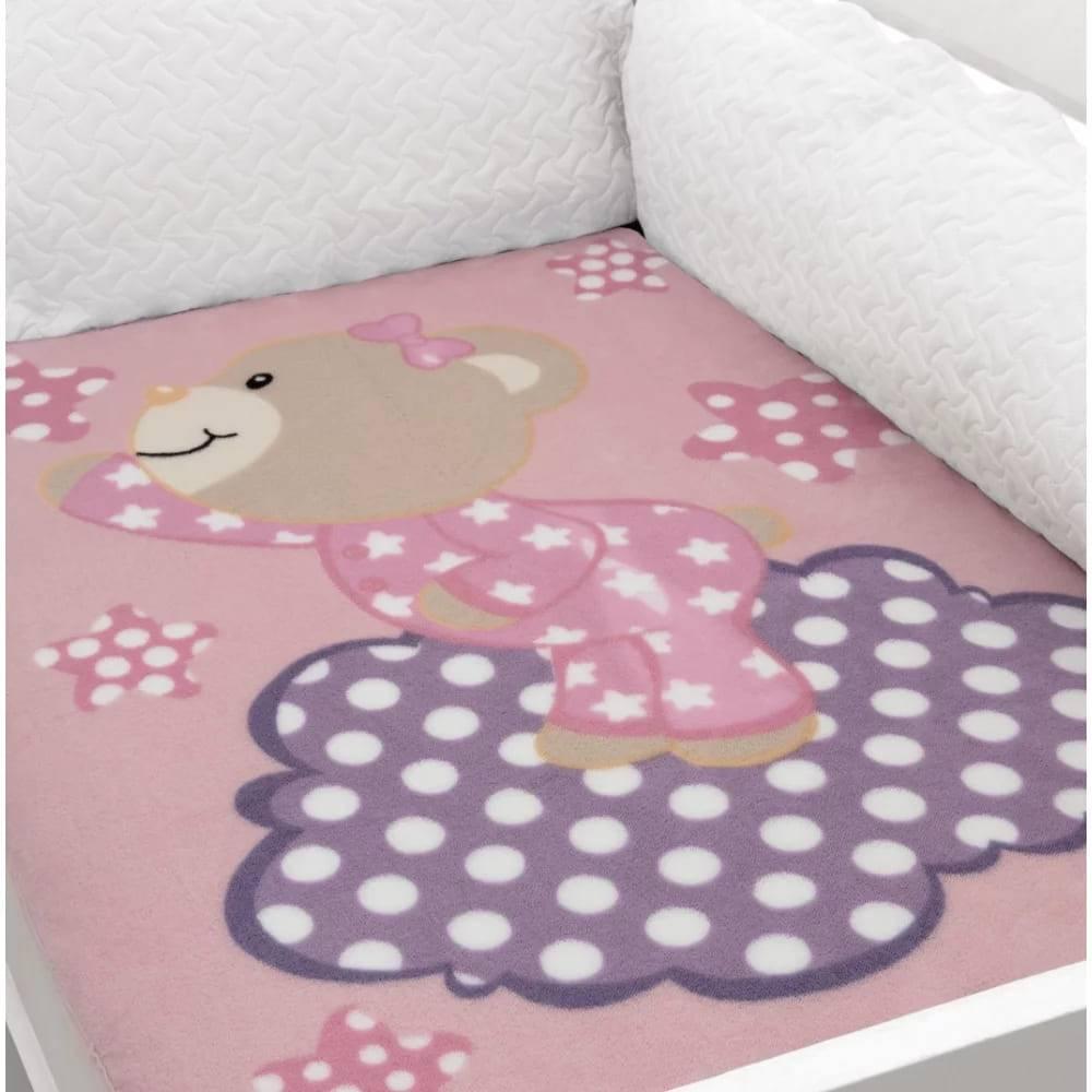 Cobertor Baby Soft para Berço Hipoalergênico  90cm x 110cm Ursinha Rosa