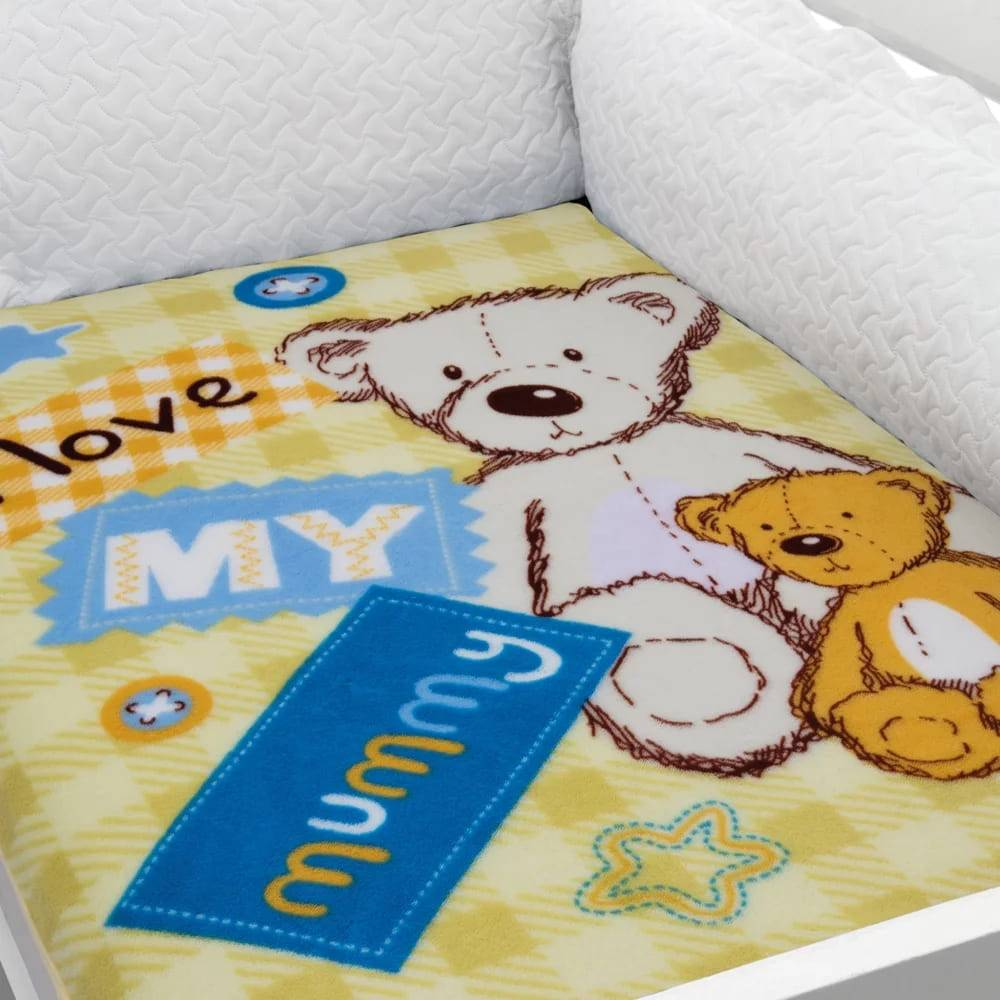 Cobertor Baby Soft para Berço Hipoalergênico  90cm x 110cm Ursinho Amarelo