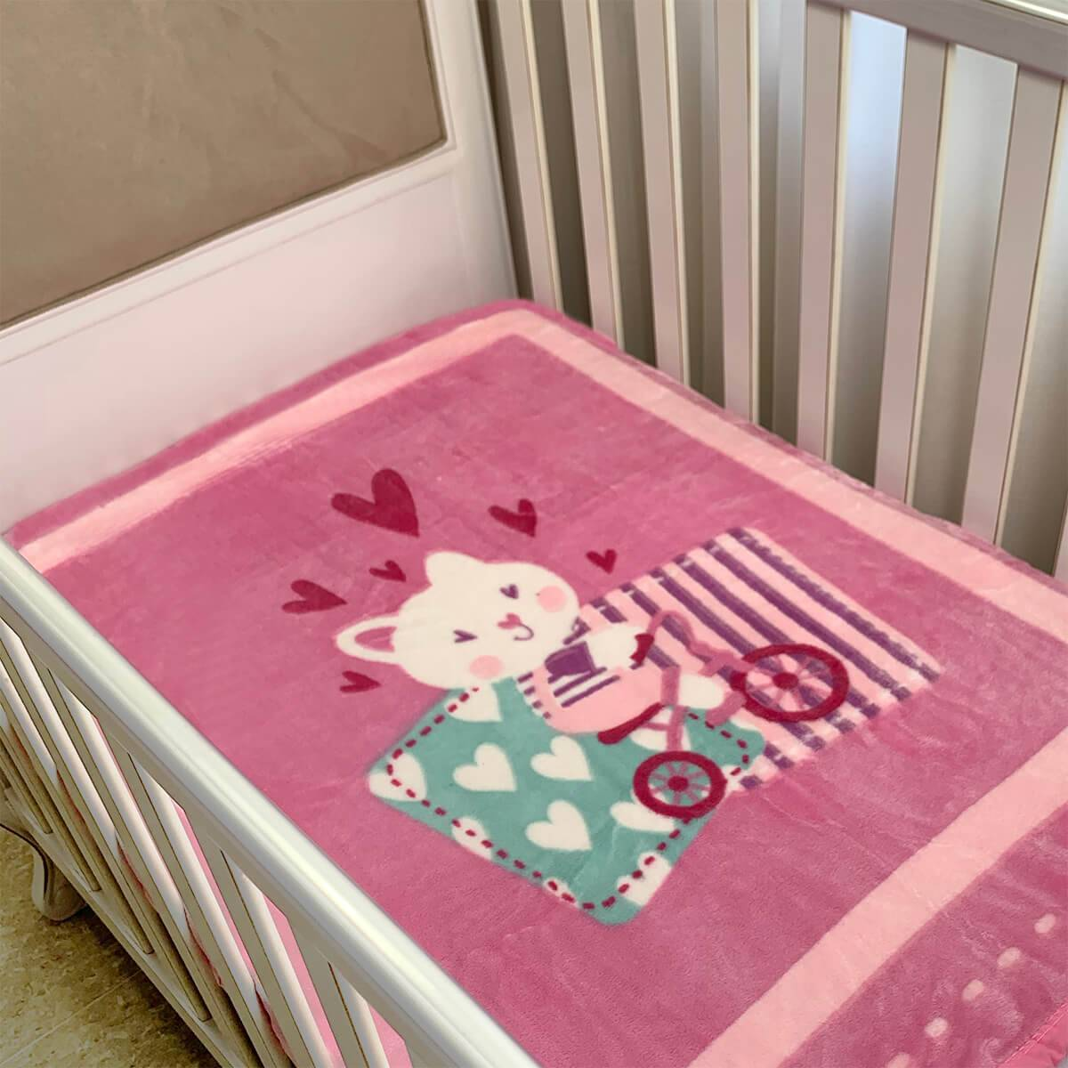 Cobertor Bebê Raschel Gatinha Rosa Antialérgico - Corttex