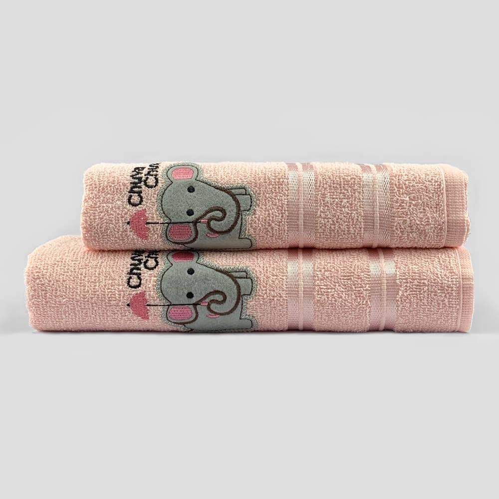 Jogo Toalhas de Banho Infantil Bordadas 100% Algodão Elefantinha - Rosa Bebe