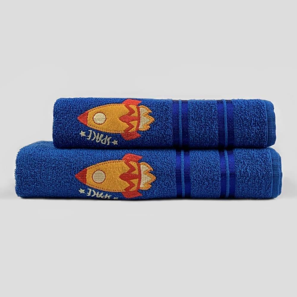 Jogo Toalhas de Banho Infantil Bordadas 100% Algodão Foguete - Azul