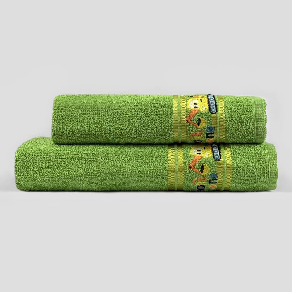 Jogo Toalhas de Banho Infantil Bordadas 100% Algodão Maquininha - Verde