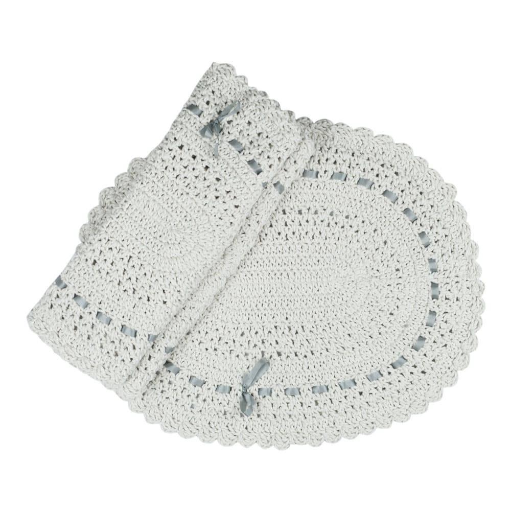 Jogo de Banheiro 3 peças Artesanal Crochê 100% algodão Fita Cinza- Casa Encanto
