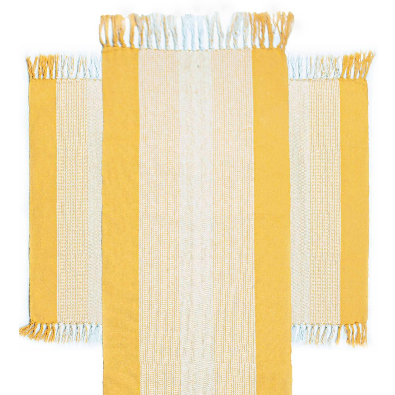 Jogo 3 Tapetes de Cozinha Algodão Caraibeiras Faixa Amarelo