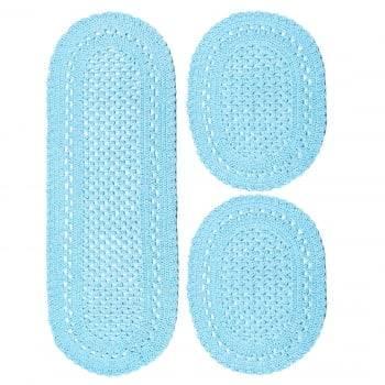 Jogo Tapete 3 peças Crochê Oval Minas Azul