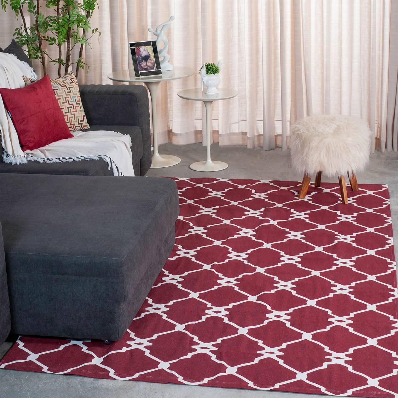 Tapete de Sala Contemporâneo Agata Vermelho Antiderrapante 1,50m x 2,00m