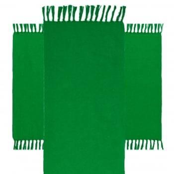 Jogo 3 Tapetes de Cozinha Algodão Caraibeiras Liso Verde