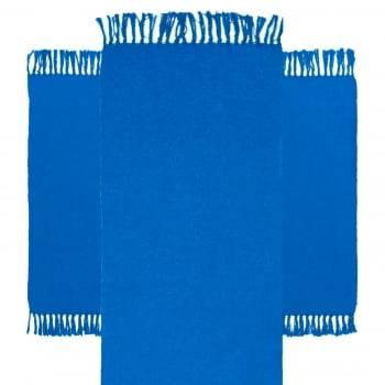 Jogo 3 Tapetes de Cozinha Algodão Caraibeiras Liso Azul