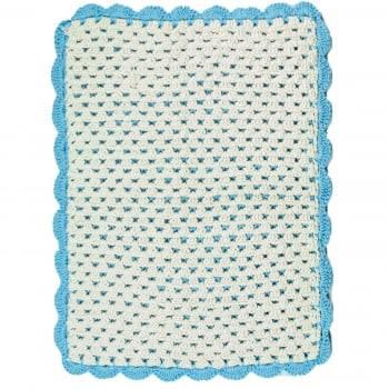 Tapete Retangular 75x60 Crochê Duplo Favo de Mel Artesanal Azul Claro