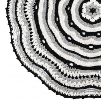 Tapete Redondo de Crochê Sala/Quarto 1,30m Escandinavo Paris Cinza