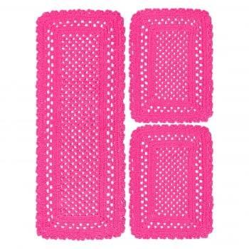 Jogo 3 Tapete de Cozinha Retangular Crochê Minas Pink