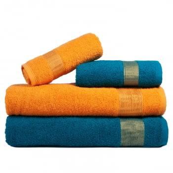 Jogo de Toalha Banhão 4 Peças Tomie 100% Algodão  Azul e Amarelo