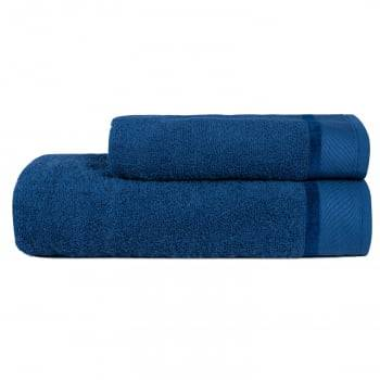 Jogo Toalhas Banho 2 Peças Eleganz 100% algodão  Azul Marinho