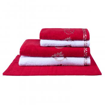 Jogo de Toalhas 5 peças 100% algodão Veneza - Vermelho e Branco