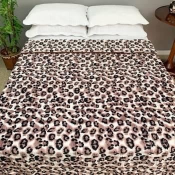 Cobertor Raschel Casal Estampado Onça Marrom