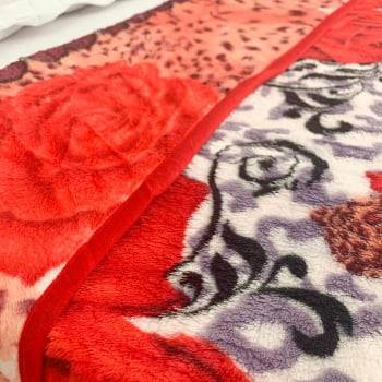 Cobertor Raschel Casal Estampado Rosas Vermelhas