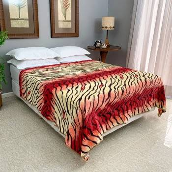 Cobertor Raschel Casal Microfibra Estampado Zebra
