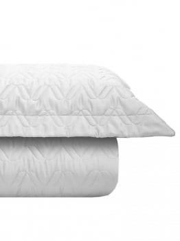 Kit Cobre leito Casal 300 Fios Acetinado Liso Branco + 2 Porta Travesseiros - Satinee Kacyumara