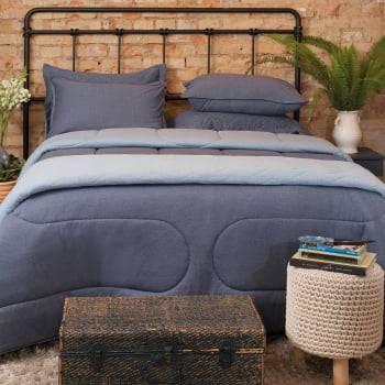 Edredom Casal com Dupla Face Super Macio e Confortavel Azul - Atlântica
