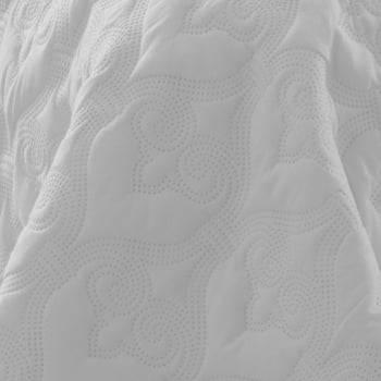Kit 1 Colcha Casal Boutis Microfibra Ultrasonic + 2 Porta-Travesseiros Branco