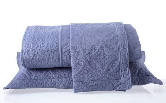 Kit 1 Colcha Casal Provence Microfibra Matelacê Ultrasonic + 2 Porta-Travesseiros 2,20 x 2,40 m - Granite