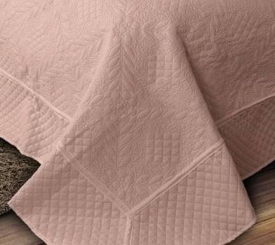 Kit 1 Colcha Casal Provence Microfibra Matelacê Ultrasonic + 2 Porta-Travesseiros 2,20 x 2,40 m - Nude