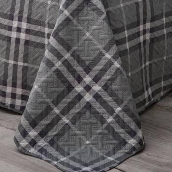 Kit Cobre leito Casal Bouti Microfibra Ultrasonic Xadrez 2,20 x 2,40 m + 2 Porta-travesseiros - Harrow