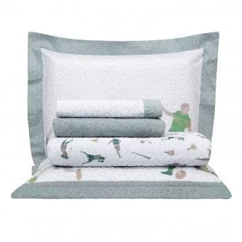 Kit Cobre leito Infantil Casal Percal 300 Fios Acetinado Esporte+ 2 Porta Travesseiros - Satinee Kacyumara