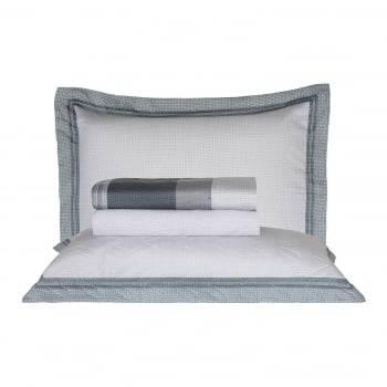 Kit Cobre leito King Percal 300 Fios Acetinado Bordado Vess + 2 Porta Travesseiros - Satinee Kacyumara