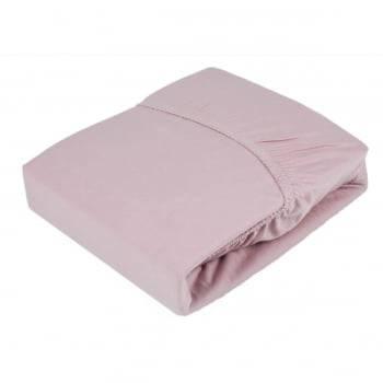 Lençol com Elástico Casal 1,38m x 1,88m x 30 cm Fio 30/1 Penteado Rosé - Atlântica