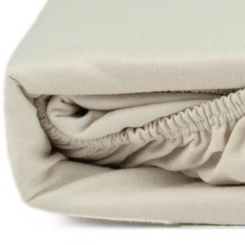 Lençol com Elástico Solteiro 88cm x 188cm x 30 cm Fio 30/1 Penteado Bege - Atlântica