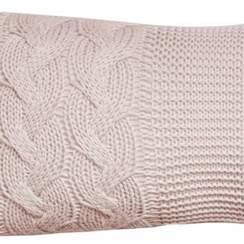 Almofada Baguete Tricot Trança Rosa Seco 20cm x 50cm