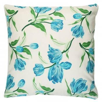 Capa de Almofada Suede Floral Azul 45cm x 45cm