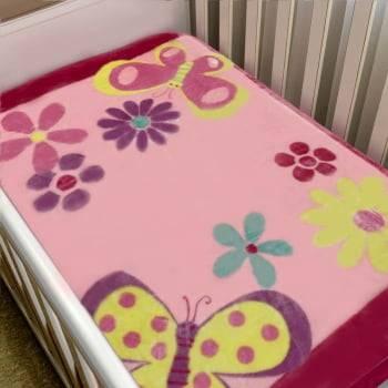 Cobertor Bebê Raschel Borboletas Antialérgico - Corttex