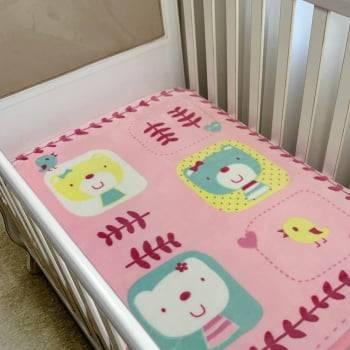 Cobertor Bebê Raschel Corações Antialérgico - Corttex