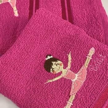 Jogo Toalhas de Banho Infantil Bordadas 100% Algodão Bailarina - Pink