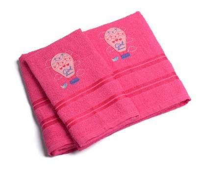Jogo Toalhas de Banho Infantil Bordadas 100% Algodão Balão - Pink