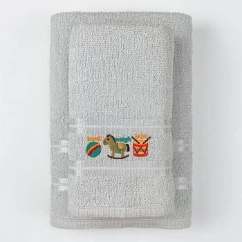 Jogo Toalhas de Banho Infantil Bordadas 100% Algodão Cavalinho - Cinza