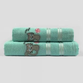Jogo Toalhas de Banho Infantil Bordadas 100% Algodão Gatinha - Azul