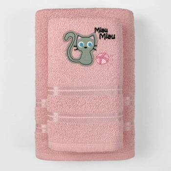 Jogo Toalhas de Banho Infantil Bordadas 100% Algodão Gatinha - Rosa Bebe