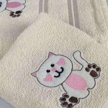 Jogo Toalhas de Banho Infantil Bordadas 100% Algodão Gatinho - Off White