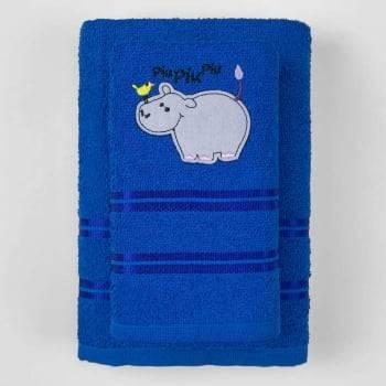Jogo Toalhas de Banho Infantil Bordadas 100% Algodão Hipopótamo – Azul