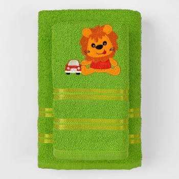 Jogo Toalhas de Banho Infantil Bordadas 100% Algodão Leãozinho - Verde