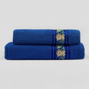 Jogo Toalhas de Banho Infantil Bordadas 100% Algodão Macaquinho - Azul