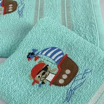 Jogo Toalhas de Banho Infantil Bordadas 100% Algodão Piratinha - Azul